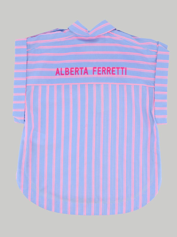 Camicia Alberta Ferretti Junior: Camicia Alberta Ferretti Junior a righe con logo posteriore fuxia 2