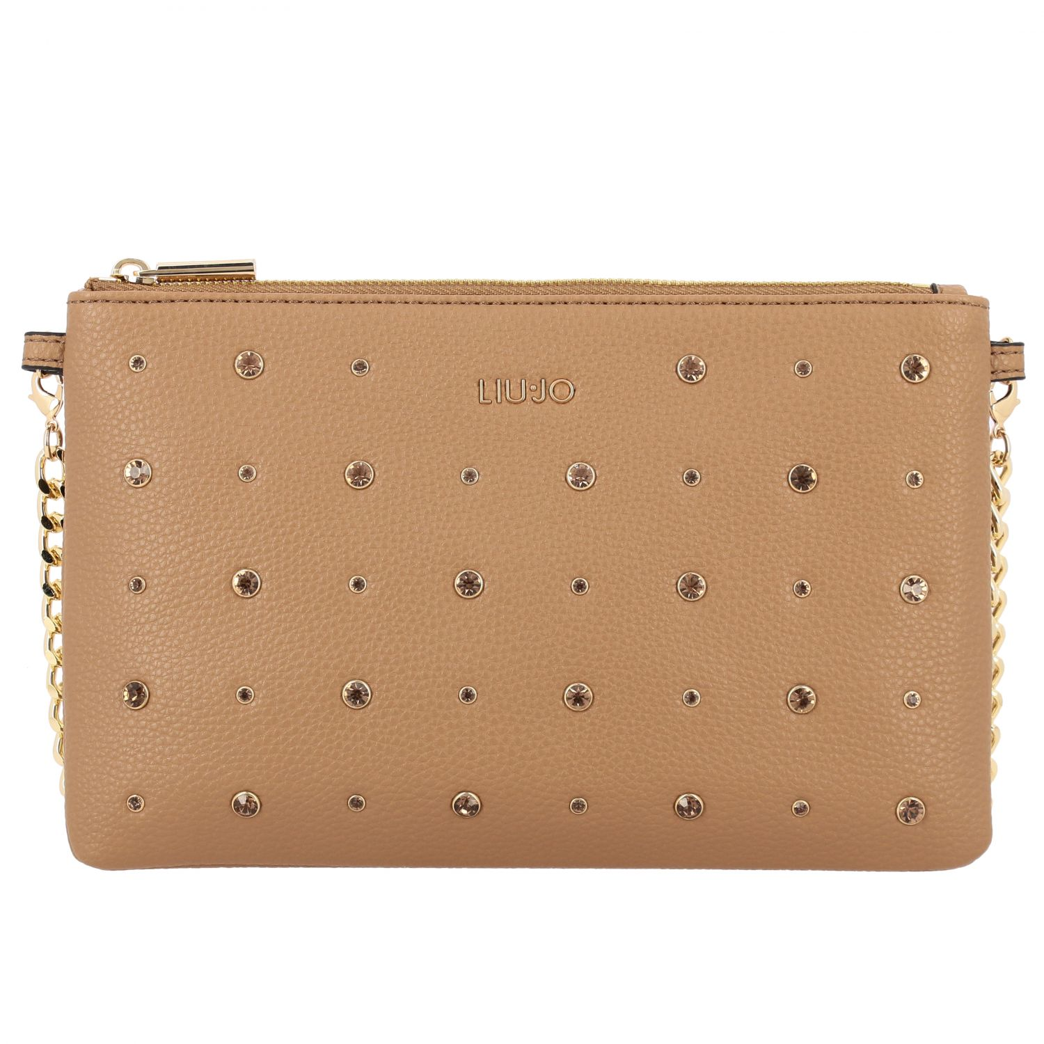 Liu Jo clutch in synthetic leather with all-over rhinestones camel 1
