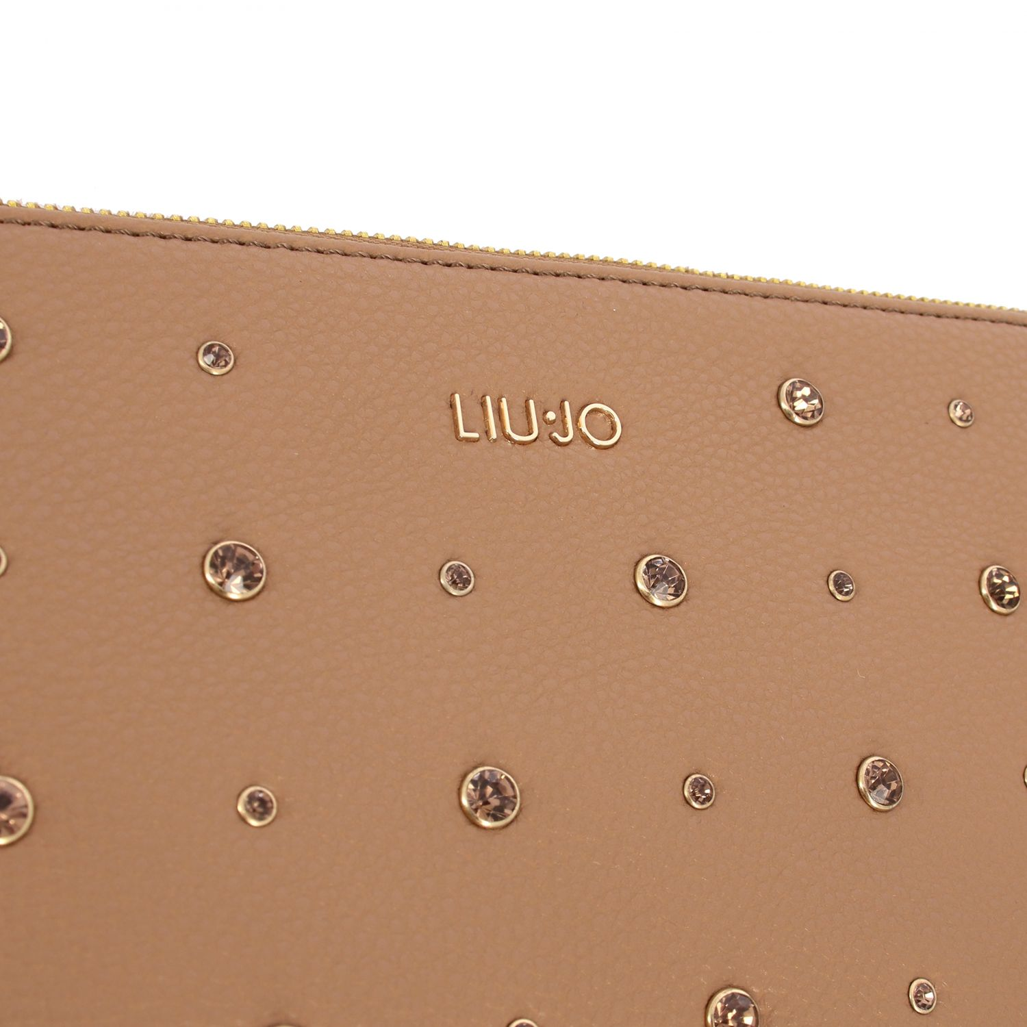 Liu Jo clutch in synthetic leather with all-over rhinestones camel 4