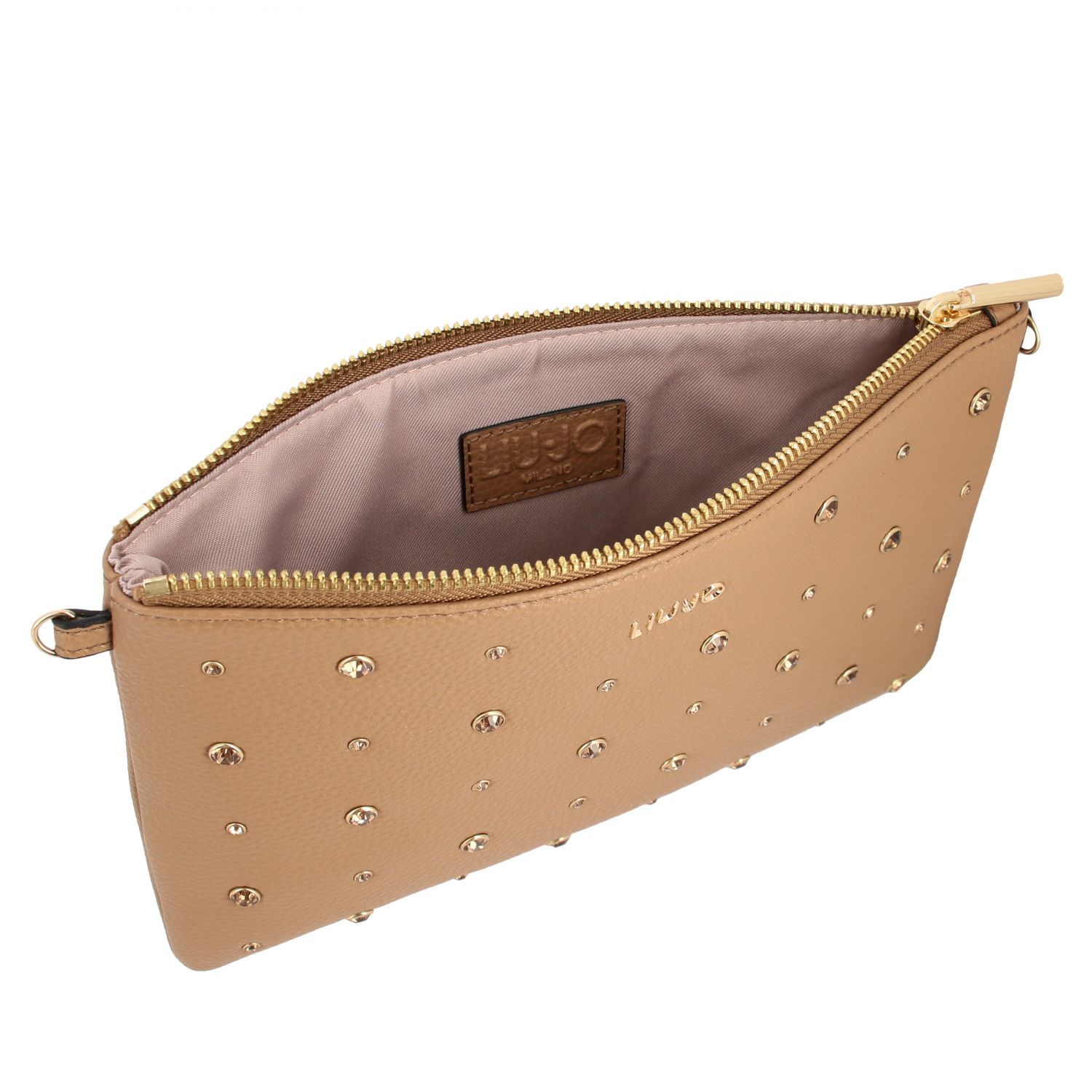 Liu Jo clutch in synthetic leather with all-over rhinestones camel 5