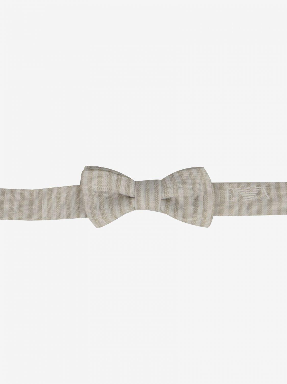 Classic striped Emporio Armani bow tie white 1