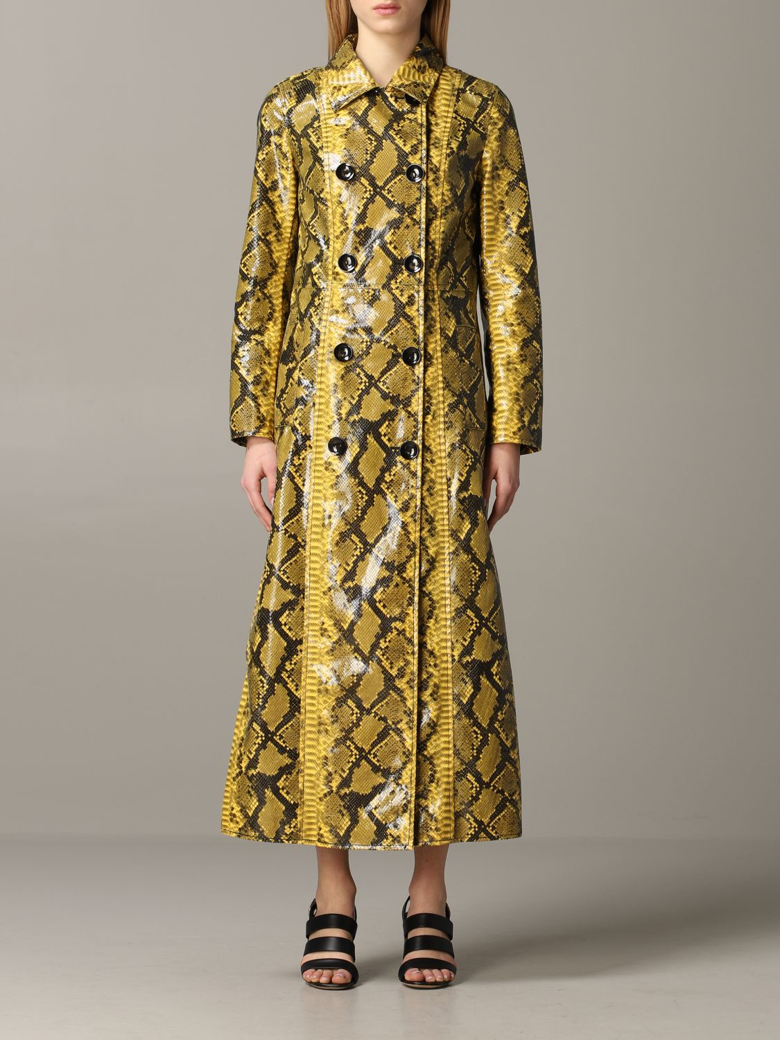 Stand double-breasted coat with python print yellow 1