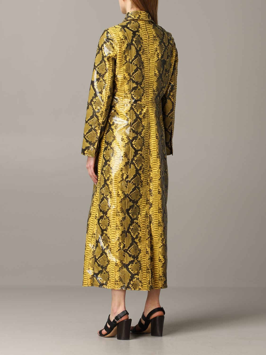 Stand double-breasted coat with python print yellow 3