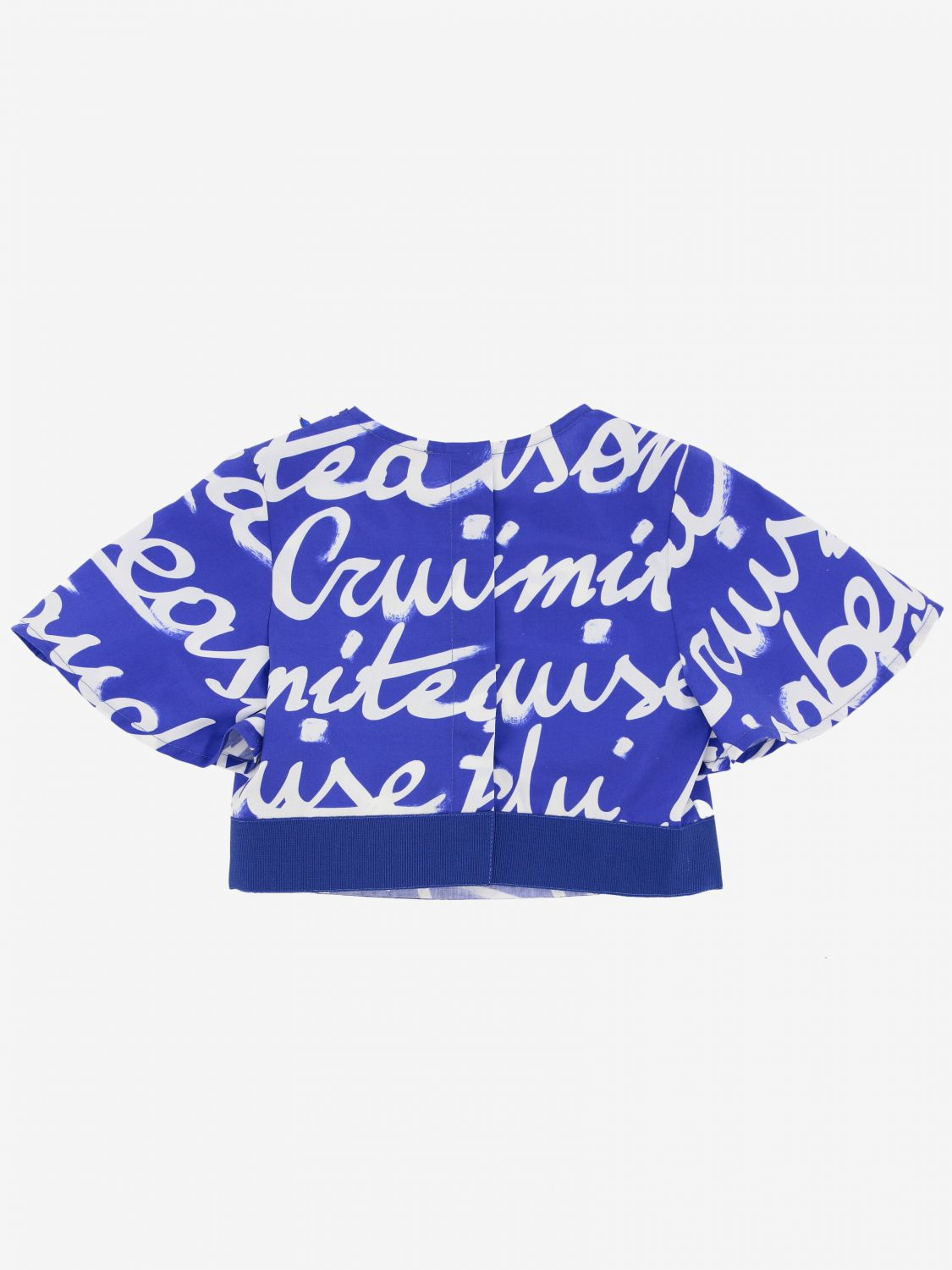 Elisabetta Franchi cropped top with all over logo cobalt 2