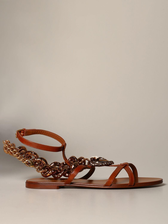 Босоножки без каблука Dolce & Gabbana: Босоножки без каблука Женское Dolce & Gabbana бежевый 1