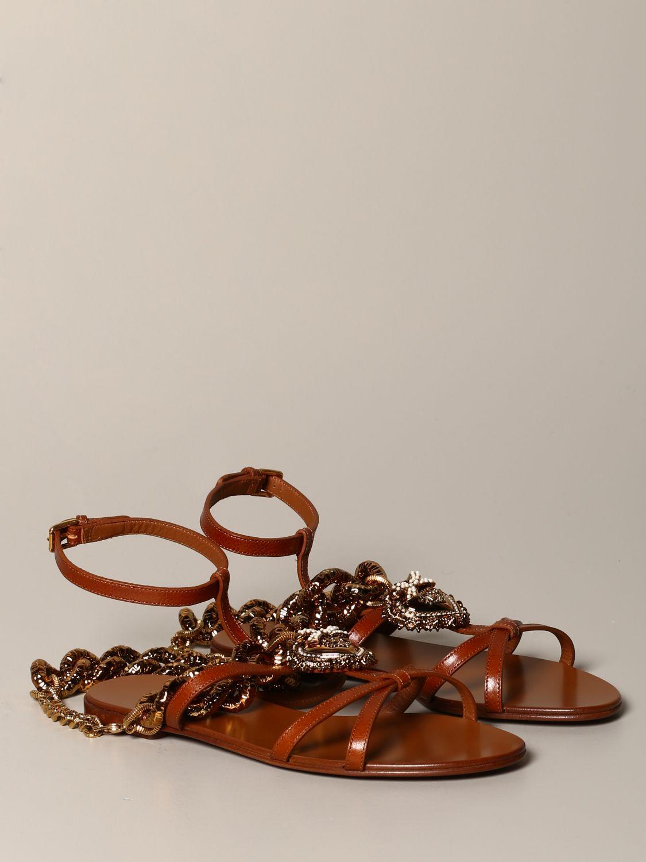 Босоножки без каблука Dolce & Gabbana: Босоножки без каблука Женское Dolce & Gabbana бежевый 2