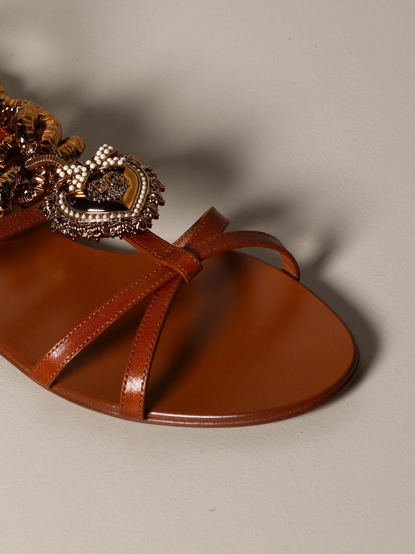 Босоножки без каблука Dolce & Gabbana: Босоножки без каблука Женское Dolce & Gabbana бежевый 3