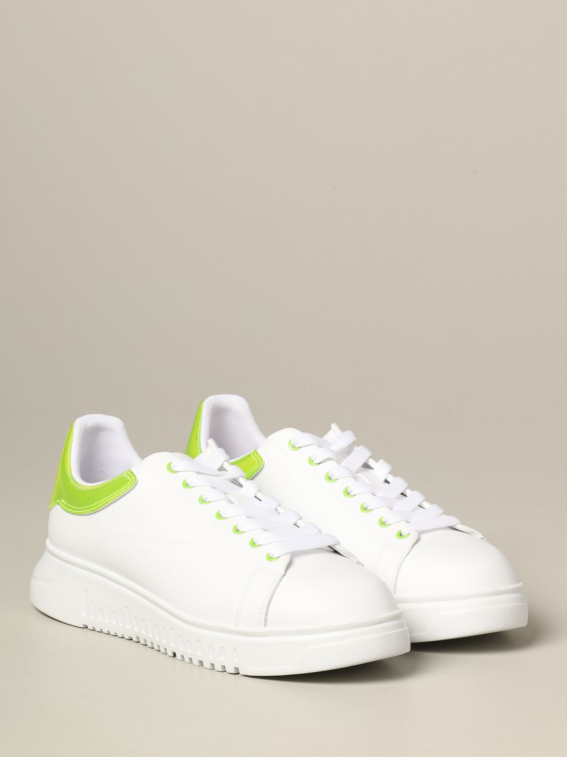 Sneakers Emporio Armani: Emporio Armani leather sneakers with fluo heel white 2