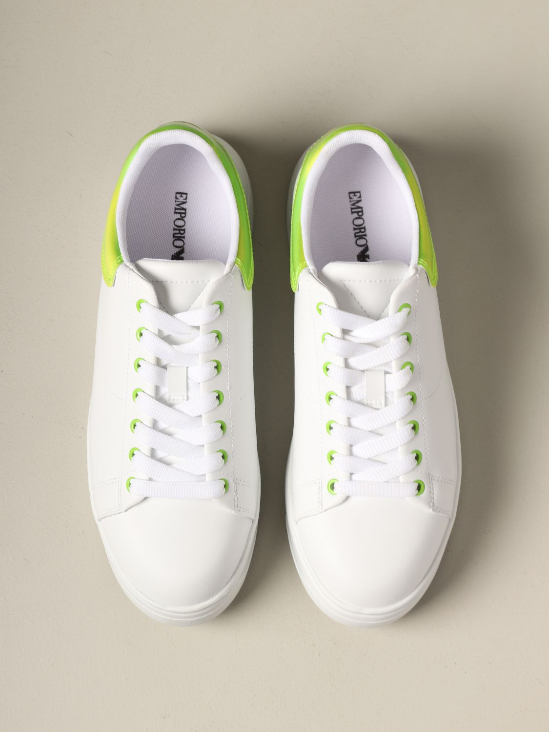 Sneakers Emporio Armani: Emporio Armani leather sneakers with fluo heel white 3