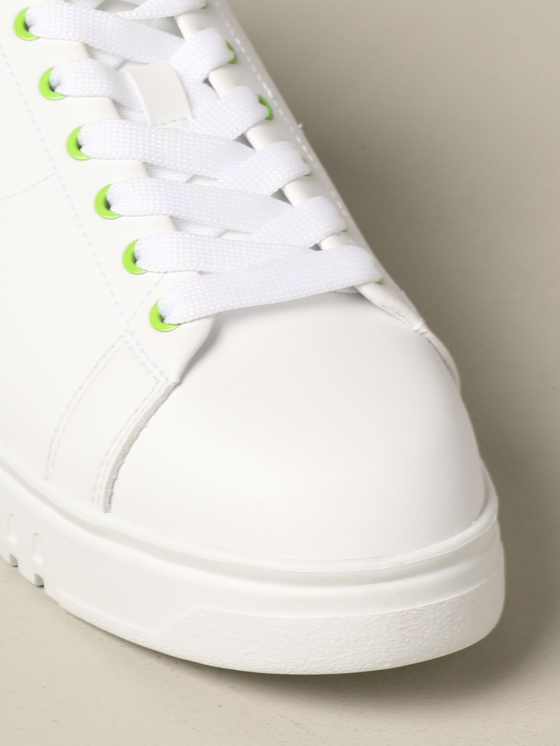 Sneakers Emporio Armani: Emporio Armani leather sneakers with fluo heel white 4