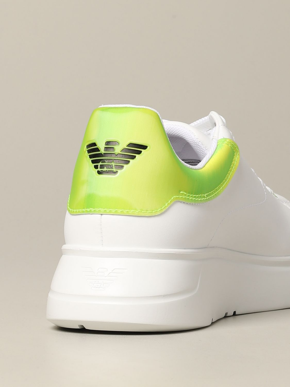 Sneakers Emporio Armani: Emporio Armani leather sneakers with fluo heel white 5