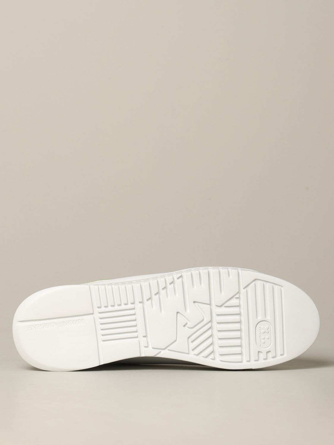 Sneakers Emporio Armani: Emporio Armani leather sneakers with fluo heel white 6
