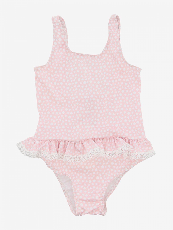 Costume Paz Rodriguez con rouches e fiocchi rosa 1