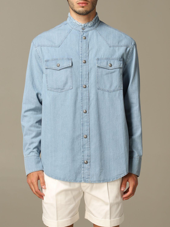 Shirt Balmain: Balmain denim shirt with back logo blue 1