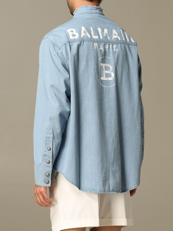 Shirt Balmain: Balmain denim shirt with back logo blue 2