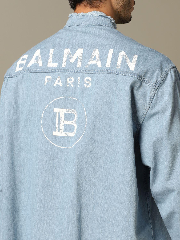 Shirt Balmain: Balmain denim shirt with back logo blue 3