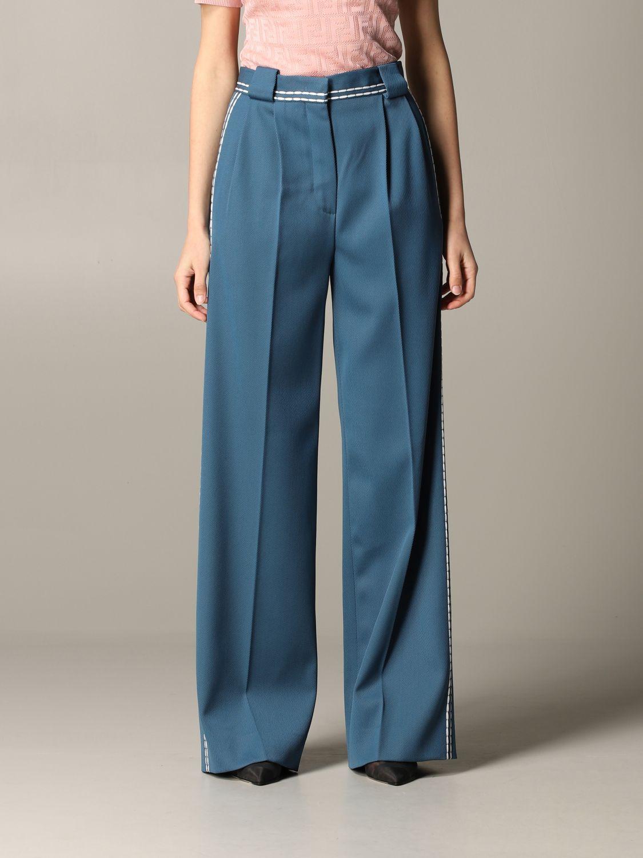 Pantalone Fendi ampio con cuciture blue 1