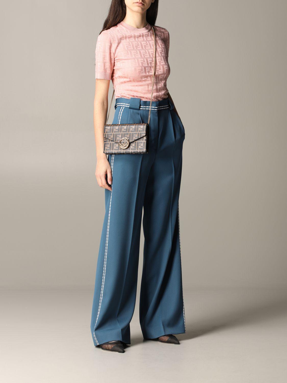 Pantalone Fendi ampio con cuciture blue 2