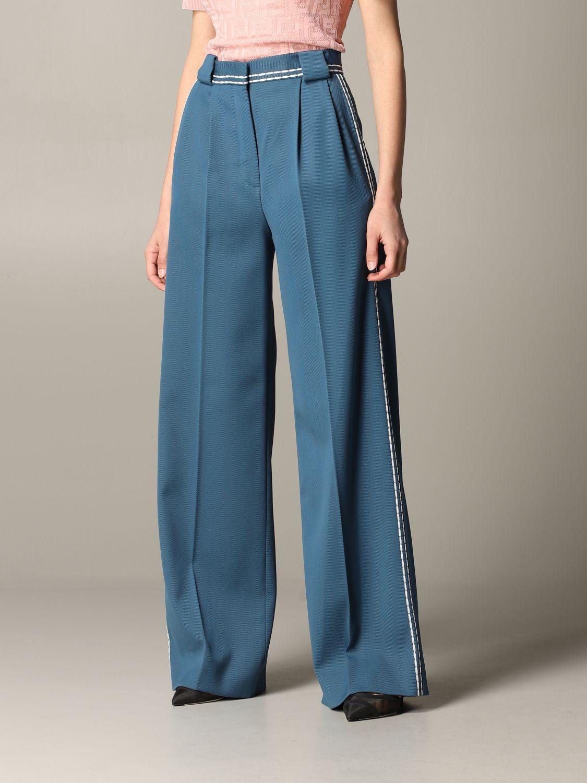 Pantalone Fendi ampio con cuciture blue 4
