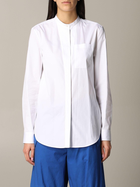 Camicia Jil Sander con collo alla coreana bianco 1