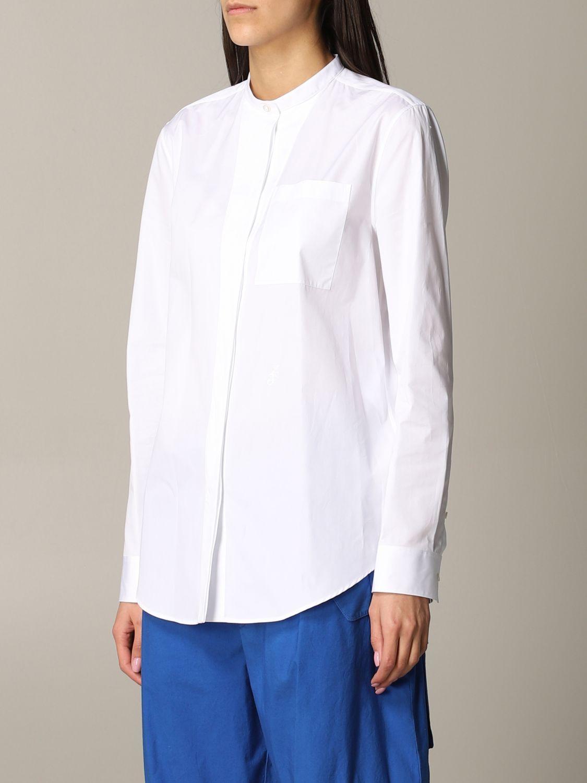 Camicia Jil Sander con collo alla coreana bianco 3