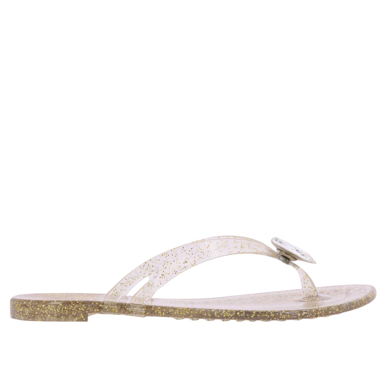 Sandalo a infradito Casadei in pvc glitter con cristallo oro 1