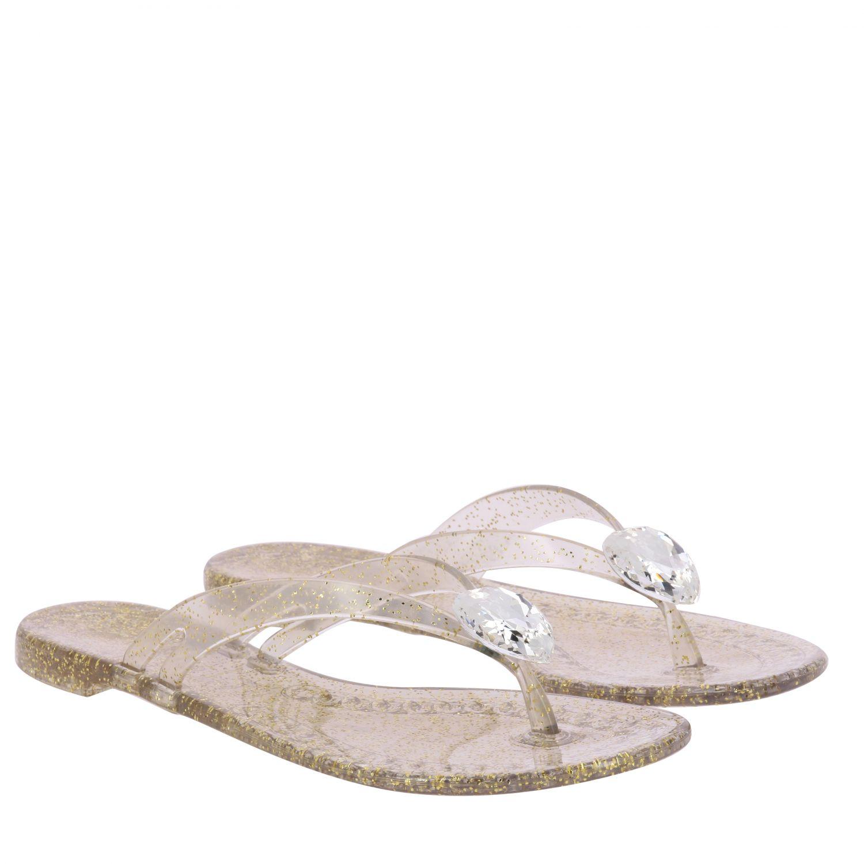 Sandalo a infradito Casadei in pvc glitter con cristallo oro 2