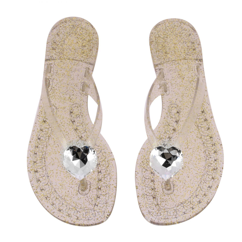 Sandalo a infradito Casadei in pvc glitter con cristallo oro 3