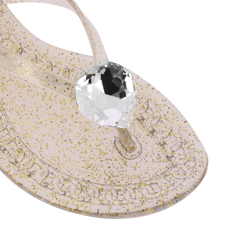 Sandalo a infradito Casadei in pvc glitter con cristallo oro 4
