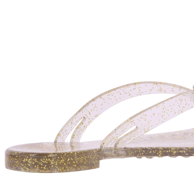 Sandalo a infradito Casadei in pvc glitter con cristallo oro 5