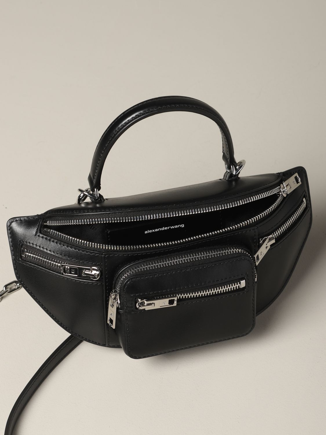 Alexander Wang pouch in full zip leather black 5