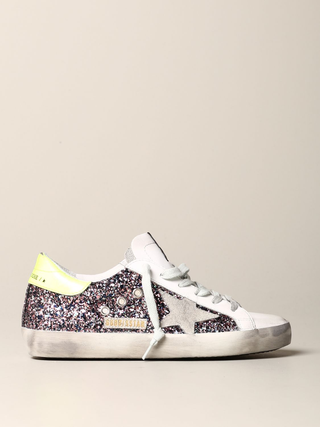 Sneakers Golden Goose en cuir et paillettes