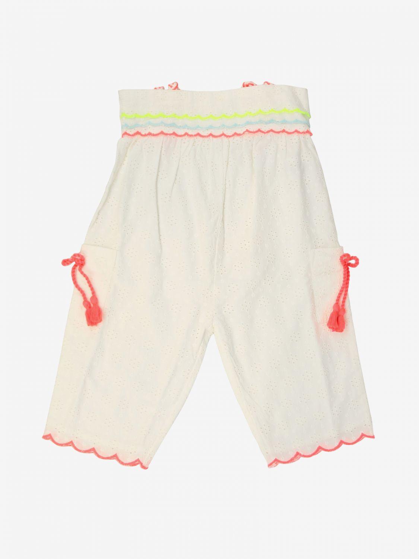 Pantalone Billieblush: Pantalone Billieblush con bordi a onde in tessuto Sangallo bianco 1