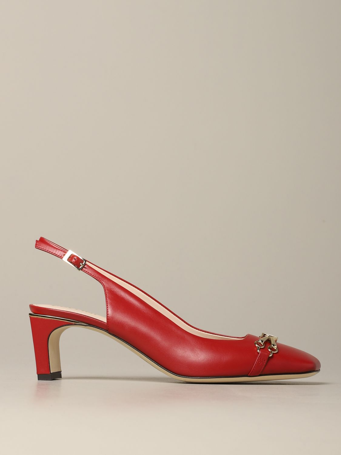 Pollini sandal in leather with metal clamp red 1