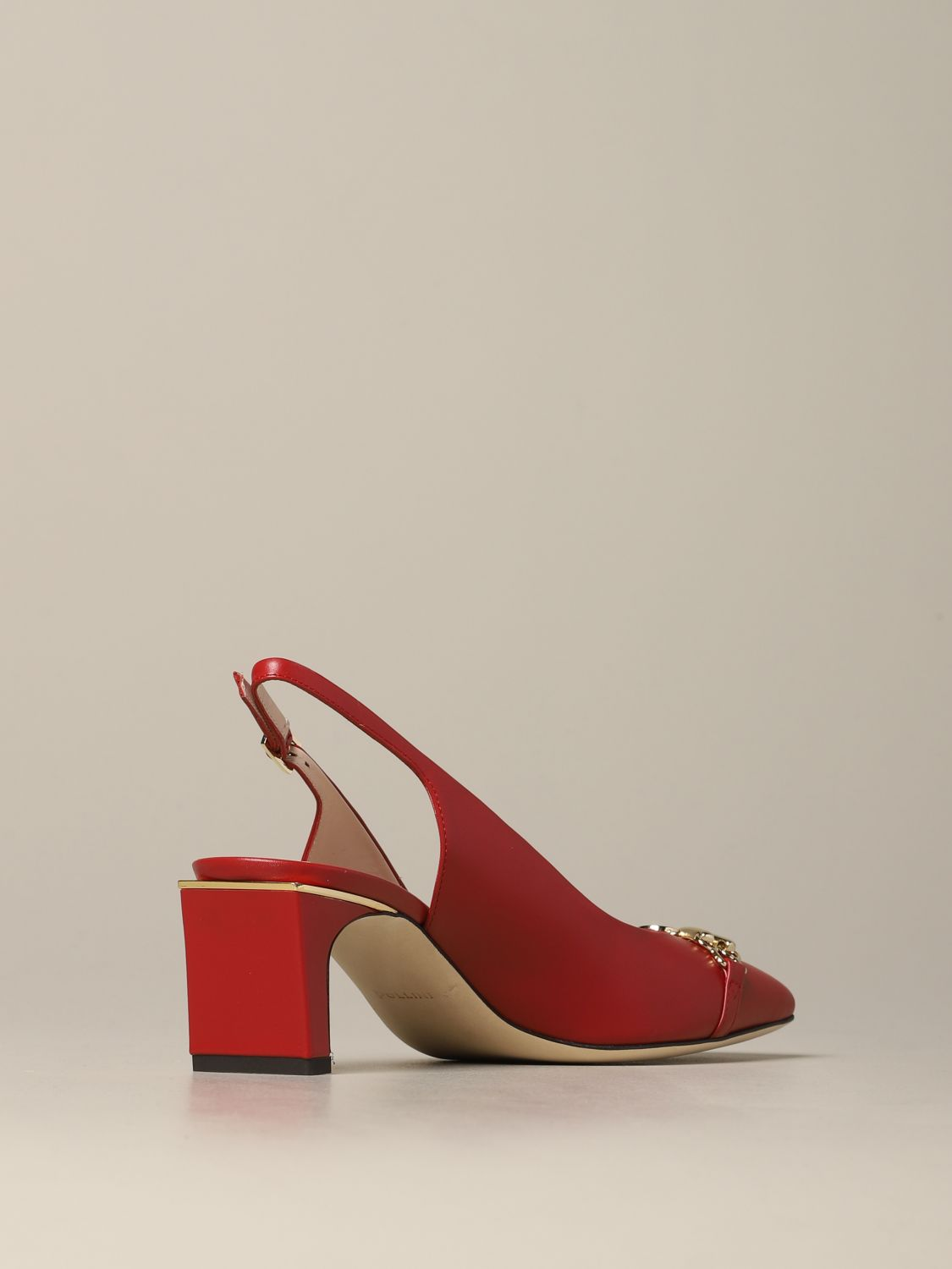 Pollini sandal in leather with metal clamp red 5