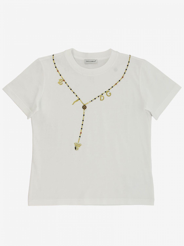 T-shirt Dolce & Gabbana: T-shirt Dolce & Gabbana con stampa collana bianco 1