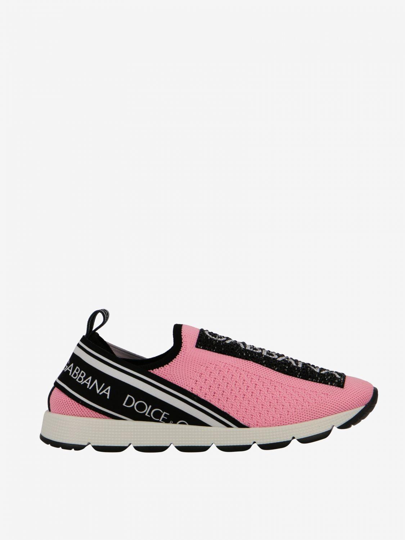 Scarpe Dolce & Gabbana: Sneakers Dolce & Gabbana slip on in mesh con logo nero 1