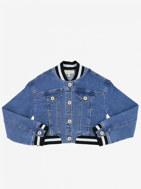 Twin-set denim jacket with striped edges denim 1