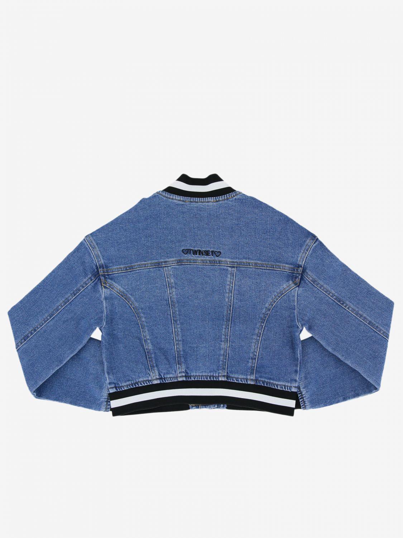 Twin-set denim jacket with striped edges denim 2
