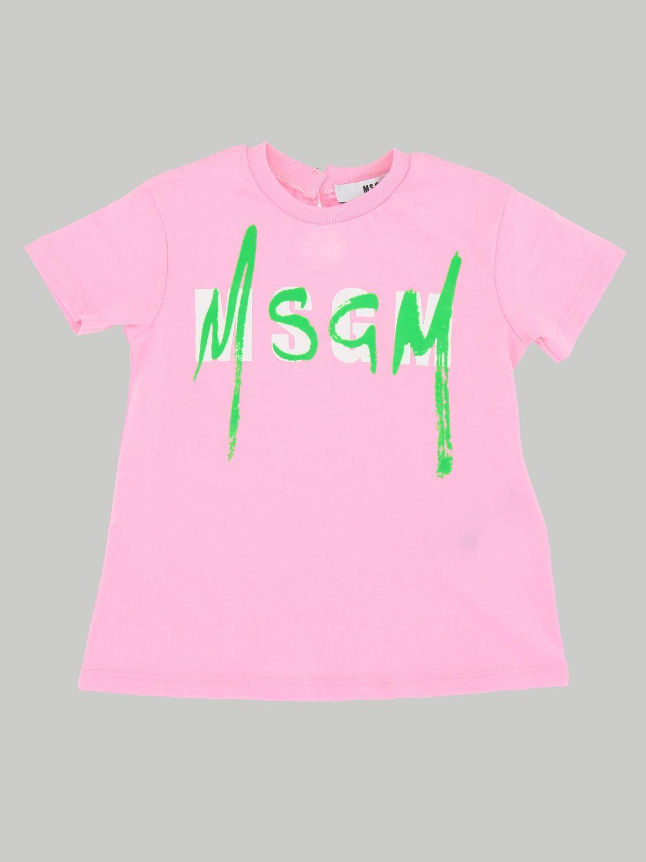 Msgm Kids logo印花连衣裙 粉色 1