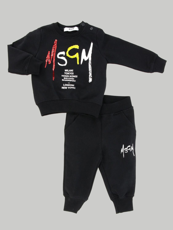 Msgm Kids sweatshirt + tracksuit set black 1