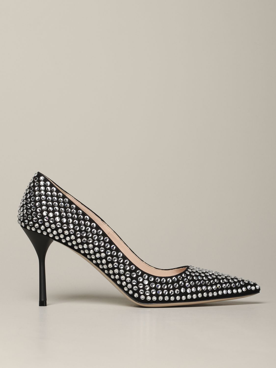 Miu Miu pumps with all-over rhinestones black 1