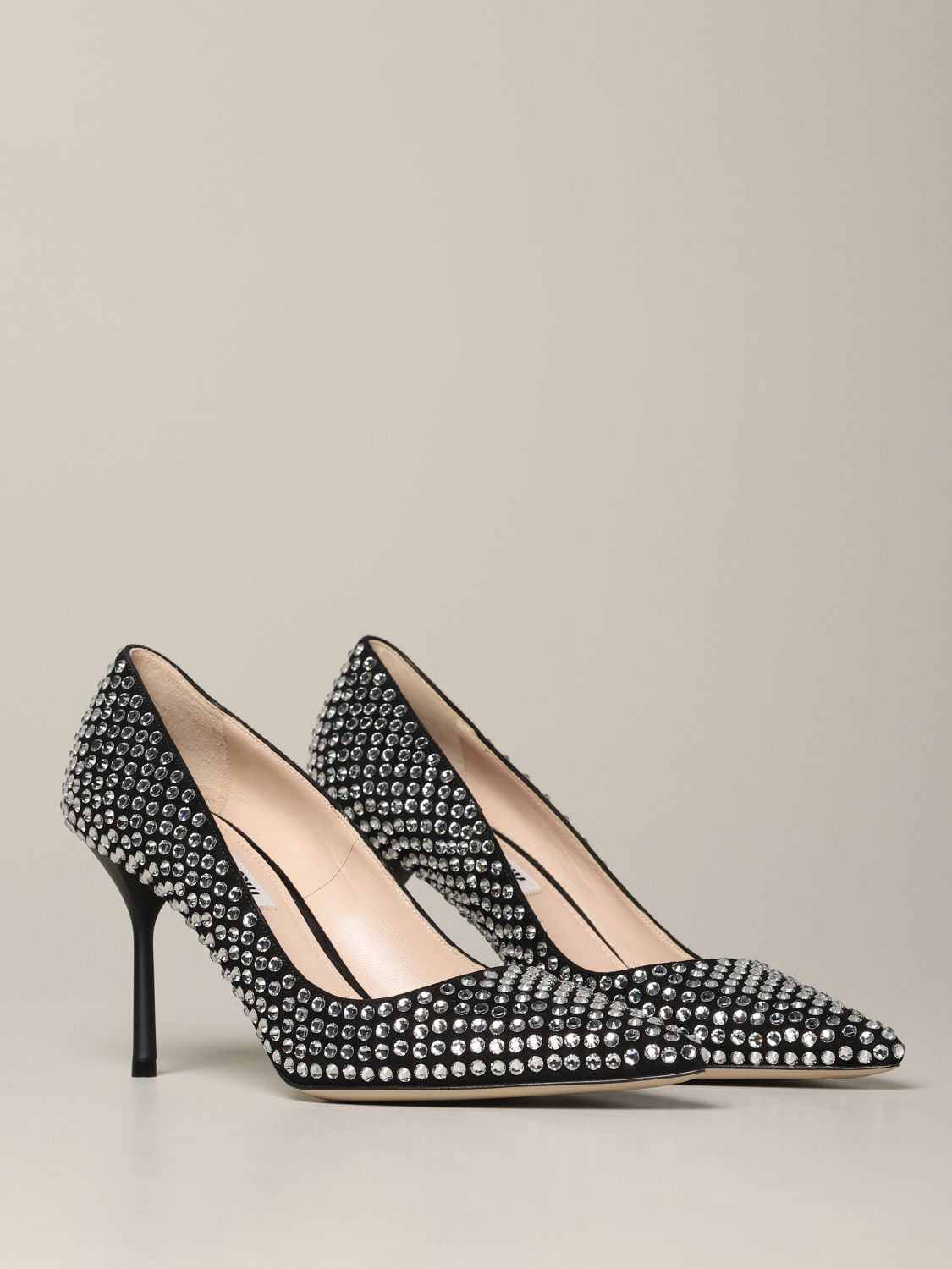 Miu Miu pumps with all-over rhinestones black 2