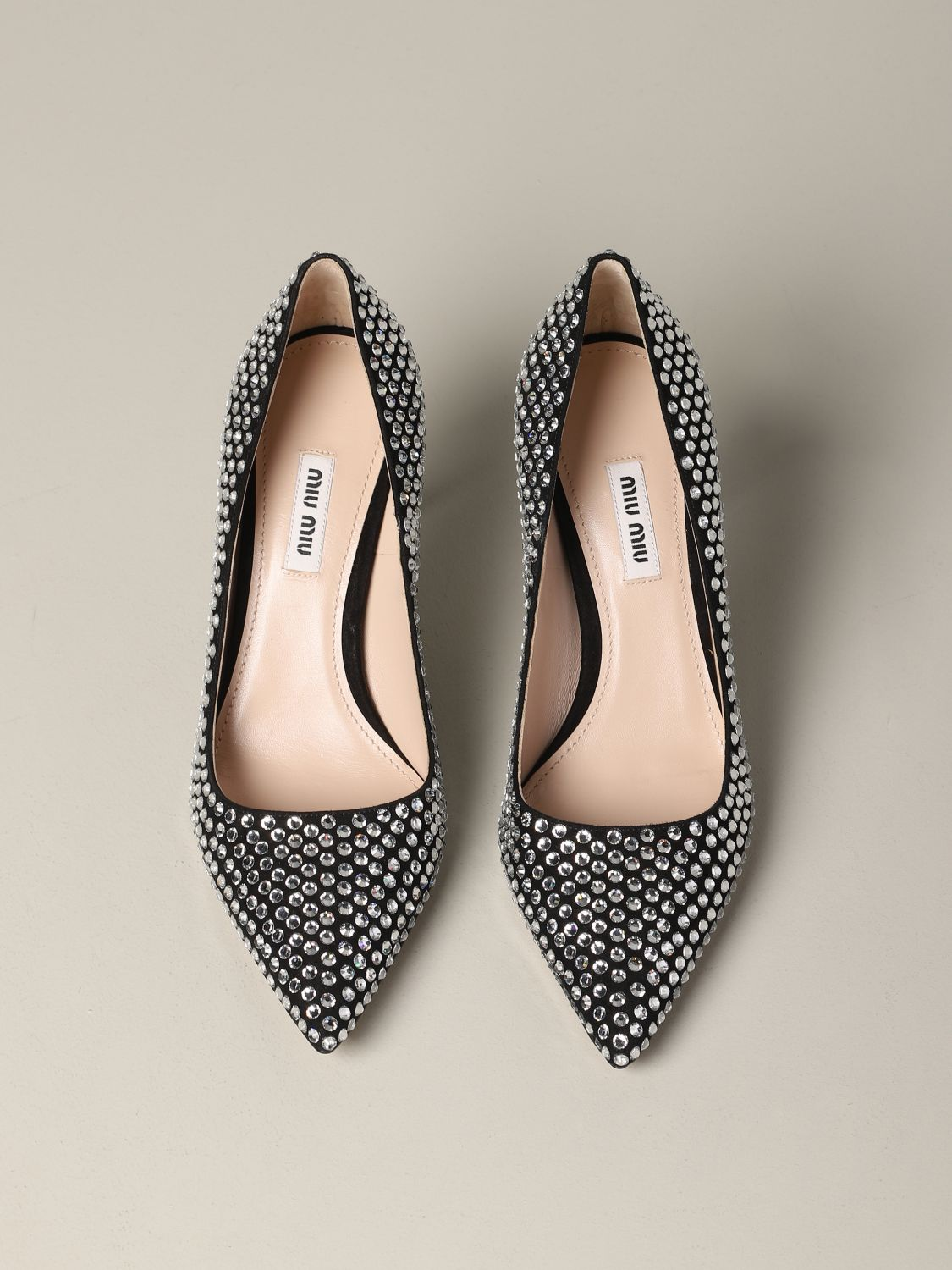 Miu Miu pumps with all-over rhinestones black 3