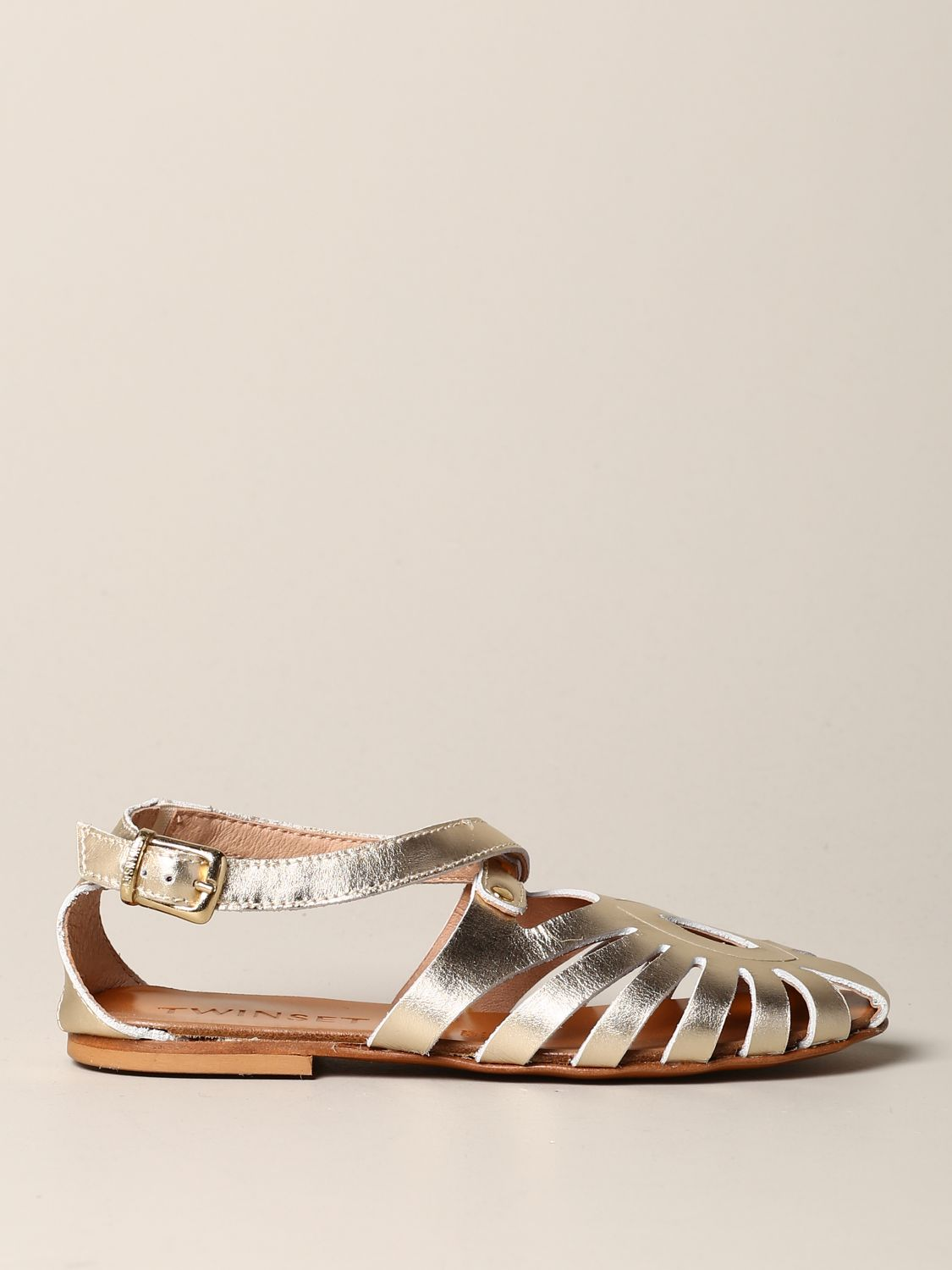 Twin-set flat sandal in laminated leather gold 1