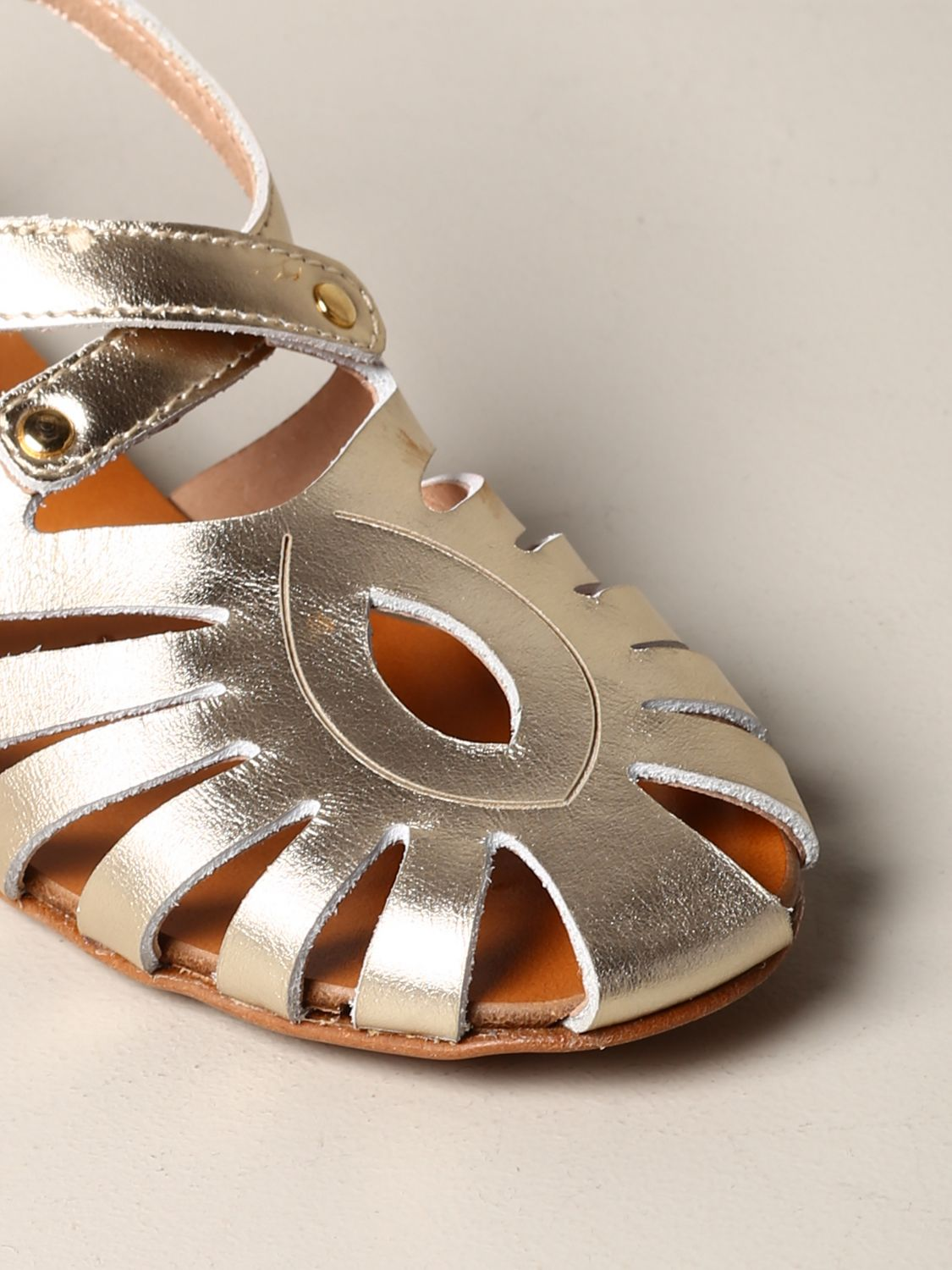 Twin-set flat sandal in laminated leather gold 4