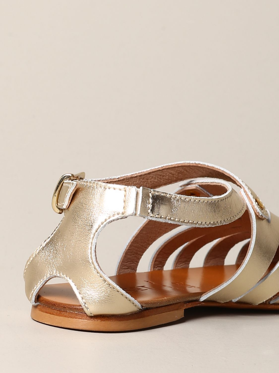 Twin-set flat sandal in laminated leather gold 5