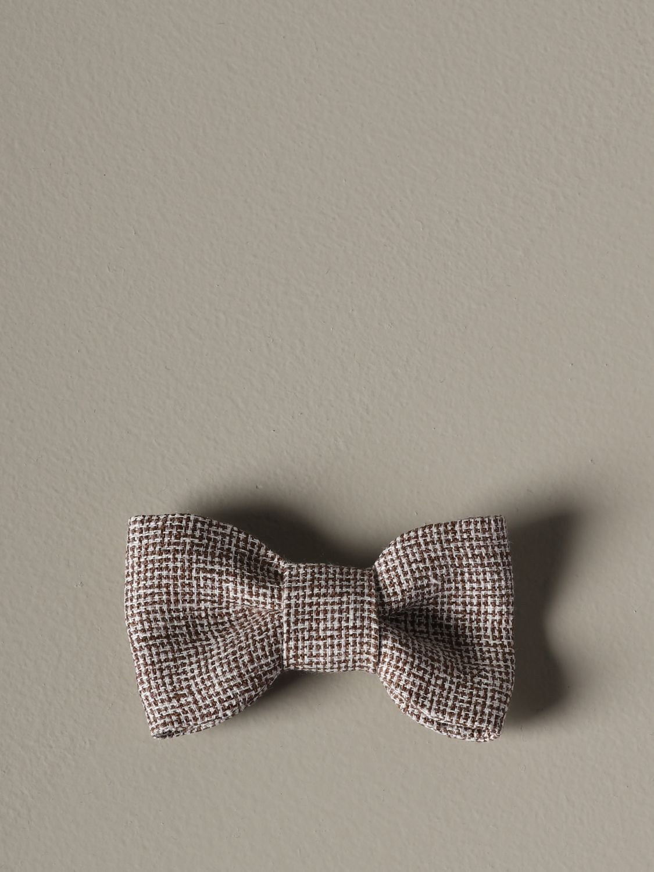 Bow tie Il Gufo: Il Gufo bow tie in textured fabric brown 1