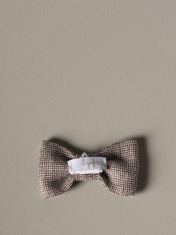 Bow tie Il Gufo: Il Gufo bow tie in textured fabric brown 2