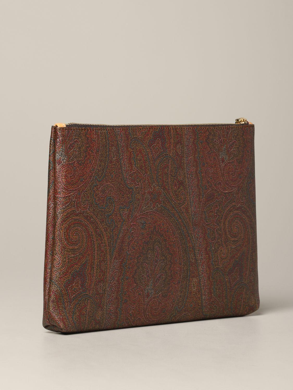 Pochette Etro en cuir imprimé paisley orange 3